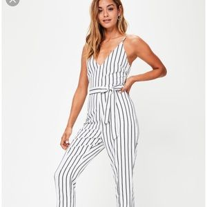 Missguided striped cami jumpsuit
